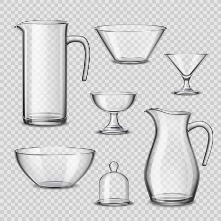 各种玻璃杯玻璃碗玻璃罩图片免抠素材