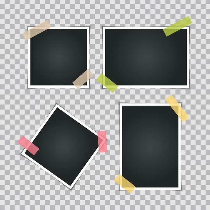 4款胶带贴好的黑色背景照片贴纸图片免抠矢量素材