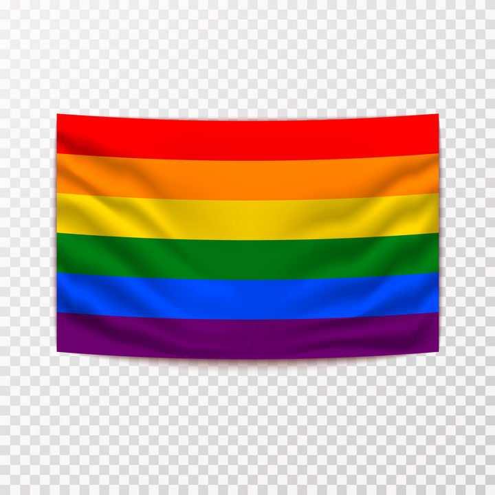 挂着的同性恋彩虹旗图片免抠素材