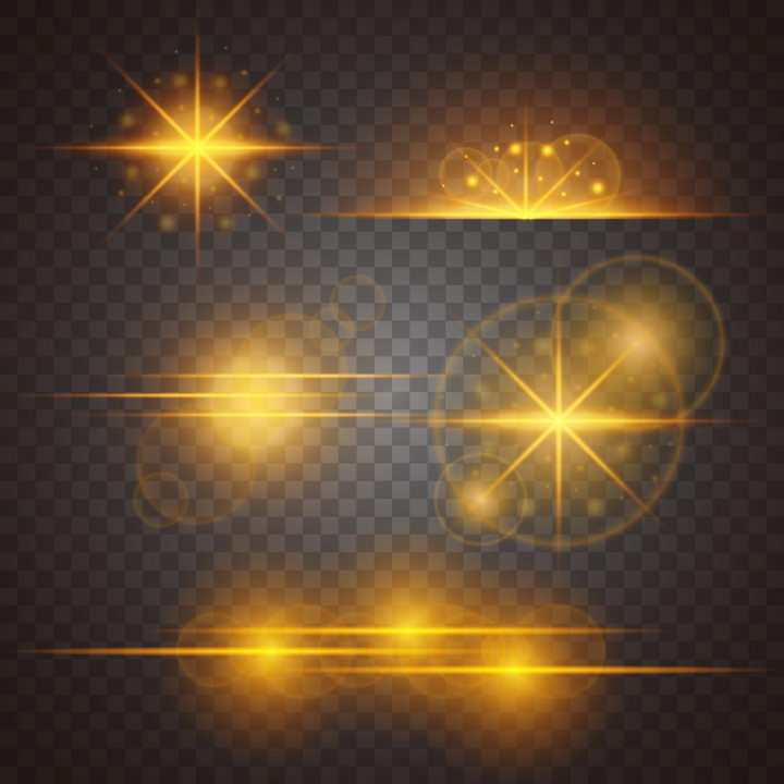 5款金黄色光芒光晕星光效果图片免抠矢量图素材