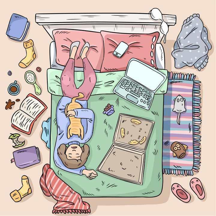 彩色手绘卡通躺在床上抱着猫咪吃披萨玩电脑的女孩图片免抠素材