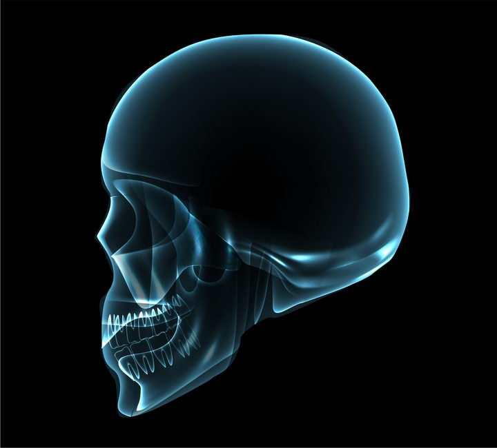 蓝色科幻风骷髅头图片免抠素材