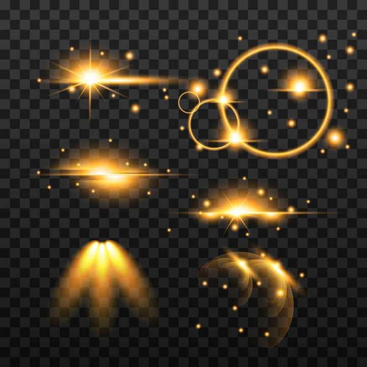 6款各种形状的黄色星光光晕效果图片免抠矢量图素材