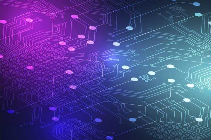 唯美创意风格的蓝紫色大规模集成电路背景图图片