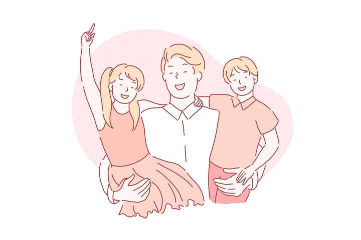 手绘彩色上色线条漫画风格拥抱儿子和女儿的爸爸图片免抠素材