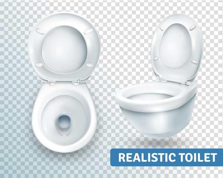 不同视角的白色抽水马桶卫生间用品图片免抠素材