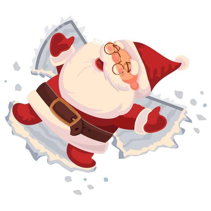 躺在雪地上玩雪的可爱卡通圣诞老人图片免抠矢量素材