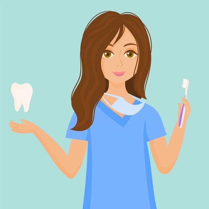 准备刷牙的年轻女医生图片免抠矢量素材