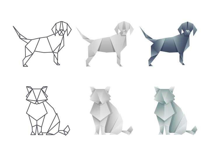 两种不同风格的折纸风格小狗和狐狸图片免抠素材