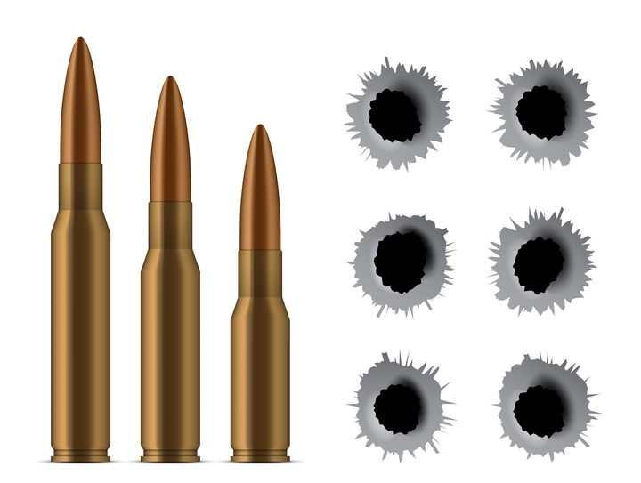 三颗子弹和6个弹孔图片免抠素材