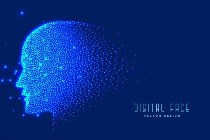 创意抽象蓝色发光粒子组成的人体脸部侧视图深色背景图