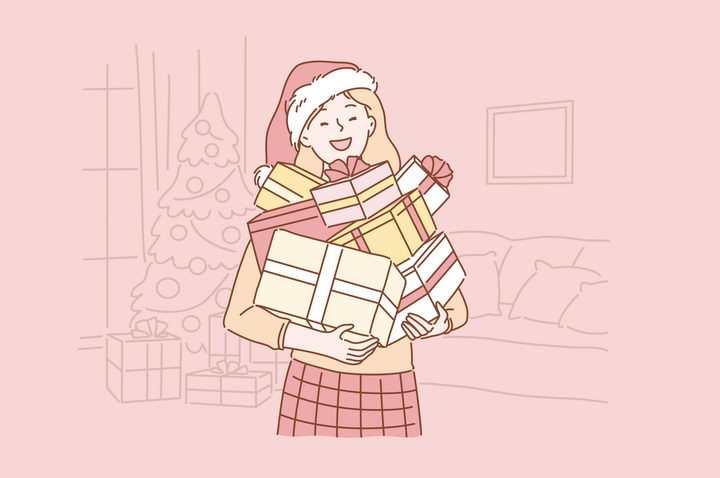 收到很多礼物的女孩手绘插画图片免抠素材