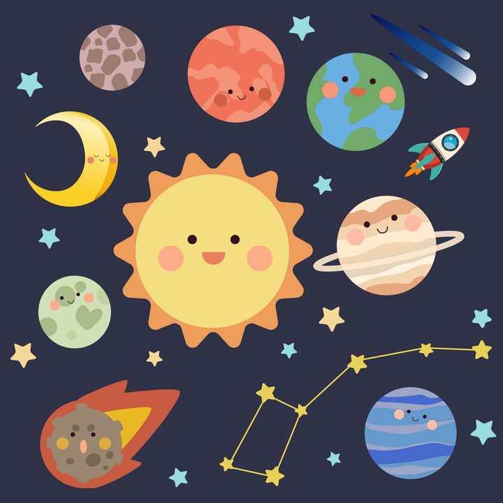 可爱卡通风格太阳系各大行星和星座天文科普图片免抠素材