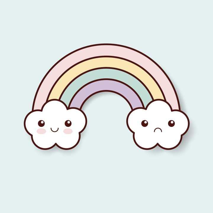 可爱的卡通云朵和彩虹图片免抠素材