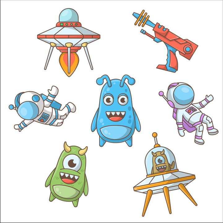 7款卡通风格飞碟外星人宇航员天文科普图片免抠素材