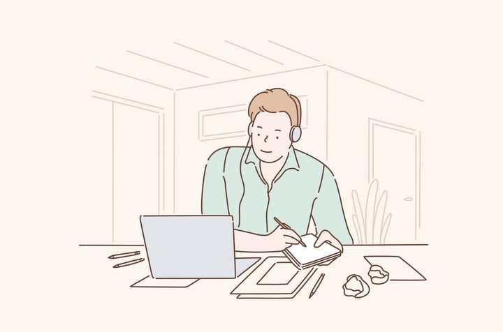 一边看电脑一边记笔记的程序员手绘插画图片免抠素材