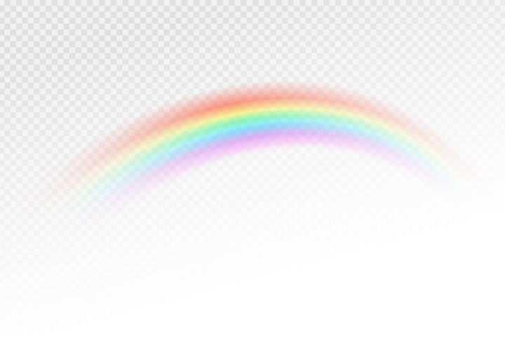 弯弯的半透明彩虹图片免抠素材