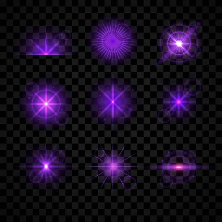 9款紫色发光光芒星光效果免抠图片素材