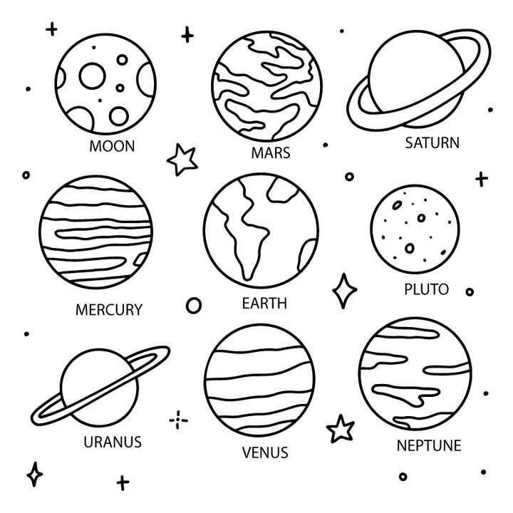 9款简约手绘线条风格的太阳系八大行星天文科普图片免抠素材