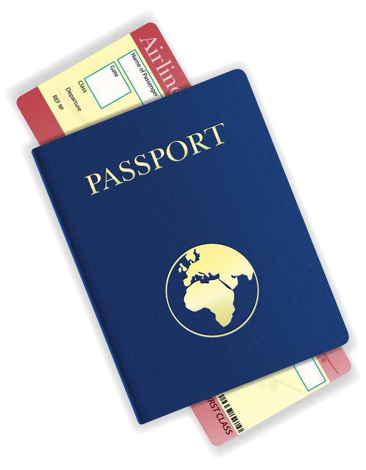 夹着飞机票的护照旅行用品免抠矢量图片素材
