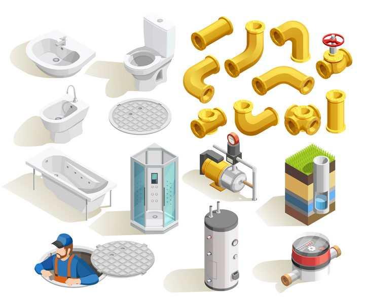 2.5D风格抽水马桶浴缸洗手盆下水道管道等等图片免抠素材