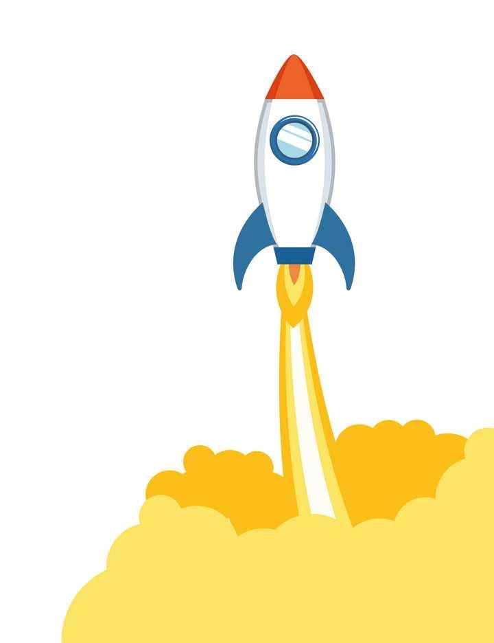 拖着尾迹冒着烟正在起飞的白色卡通小火箭免抠矢量图片素材