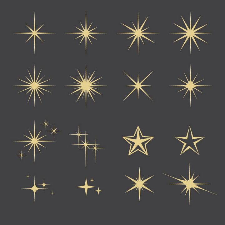 16款金色星光星芒图案图片免抠素材 线条形状-第1张