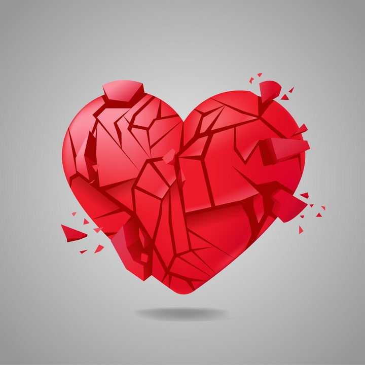 立体破碎的红心爱情图片免抠素材