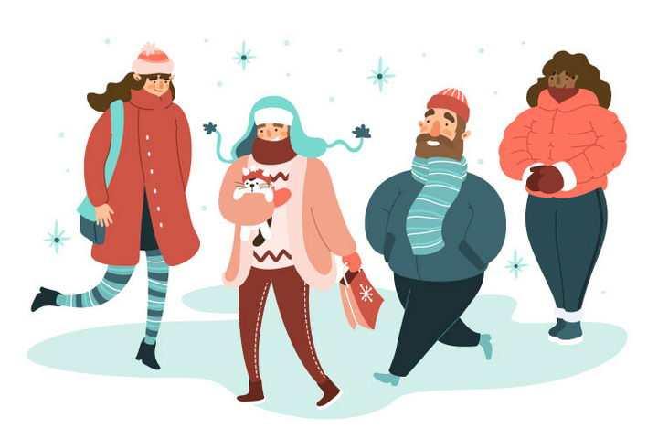 卡通插画风格冬天身穿冬衣的人群图片免抠素材
