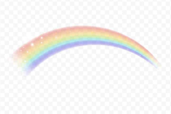 半透明效果的淡淡的七彩彩虹图片免抠素材