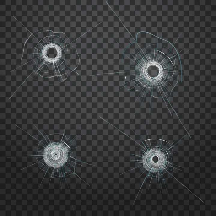 4款弹孔玻璃破碎裂纹效果图片免抠素材