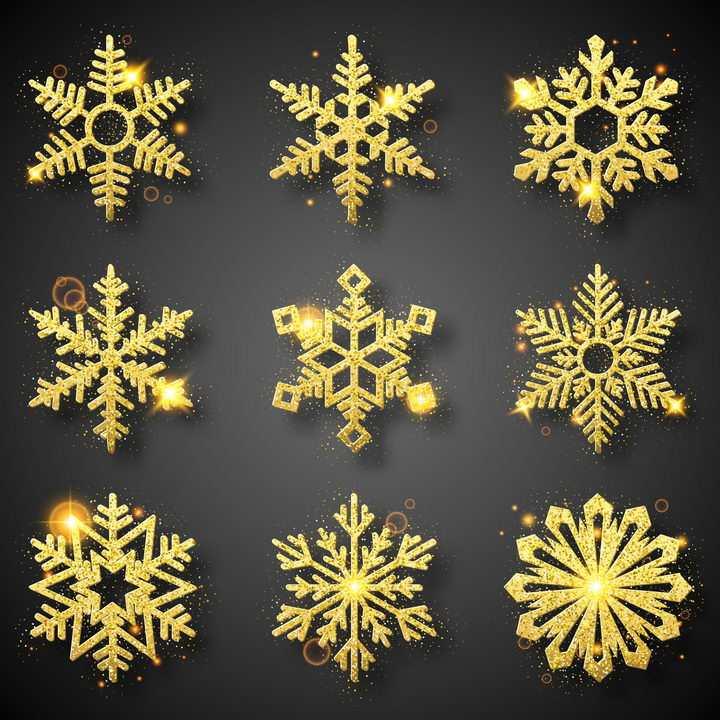 9款金色立体风格雪花图案免抠图片素材