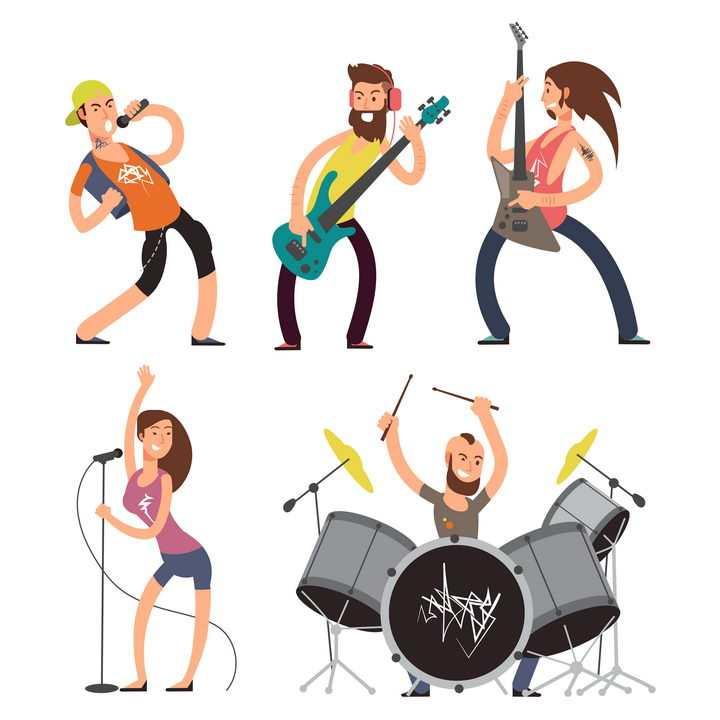 卡通风格乐队组合成员音乐会图片免抠素材