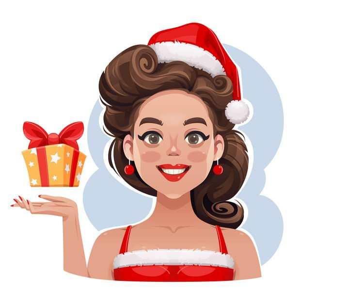 身穿圣诞礼服的卡通小姐美女图片免抠素材