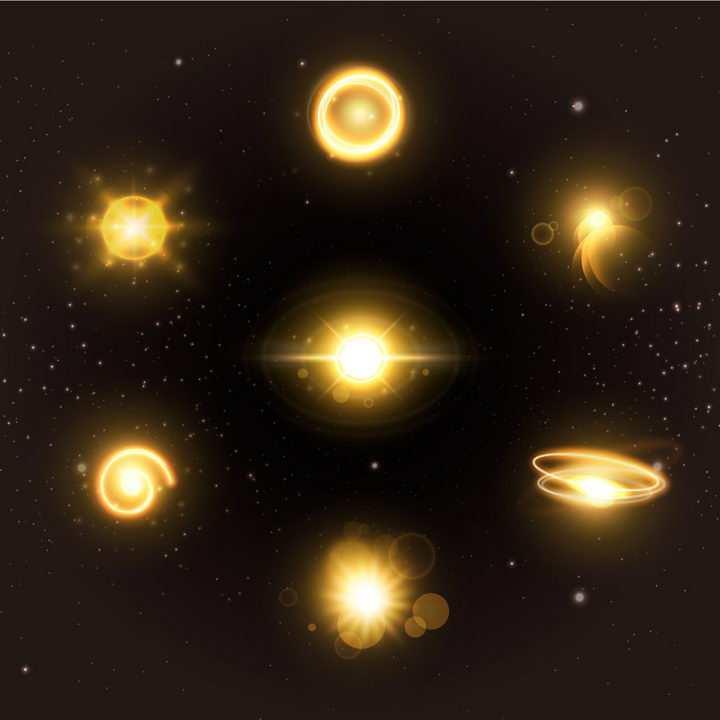 7款恒星发光光芒星光效果图片免抠矢量图素材