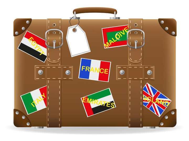 贴满标签的棕色复古风格的旅行包箱包免抠矢量图片素材