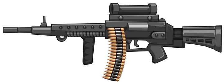 装上子弹的黑色步枪武器图片免抠素材