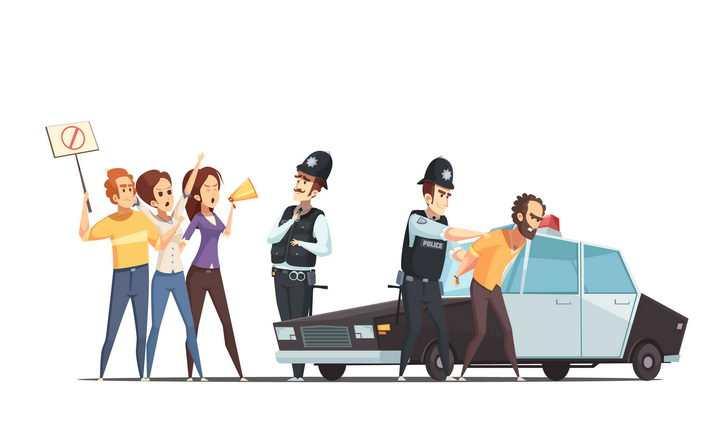 卡通风格正在逮捕罪犯的警察图片免抠素材
