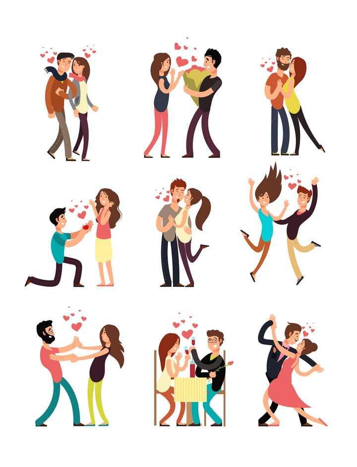 9款手绘风格在一起的情侣免抠矢量图片素材