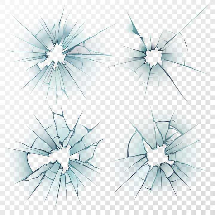 4款半透明蓝色破碎玻璃裂纹效果图片免抠素材