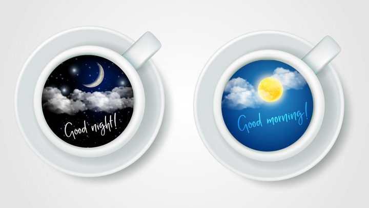 创意早上好和晚安俯视视角咖啡杯图片免抠素材