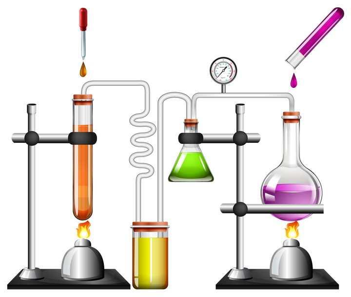 逼真的燃烧试管等中学化学实验器材图片免抠素材