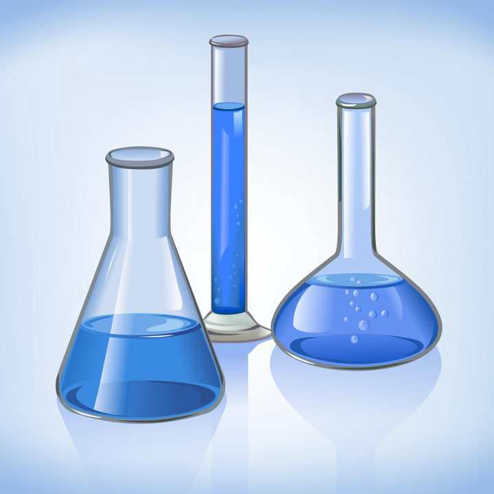 三个蓝色的烧瓶烧杯化学实验用品免抠矢量图片素材