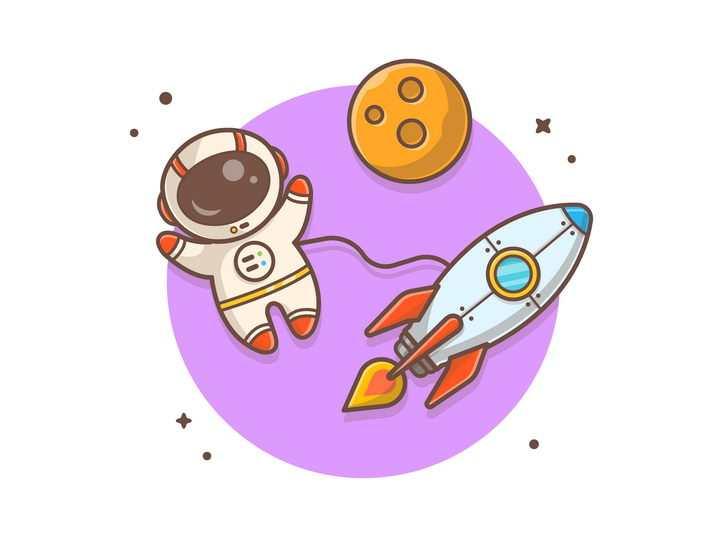 可爱卡通太空漫步的宇航员宇宙太空探索图片免抠素材