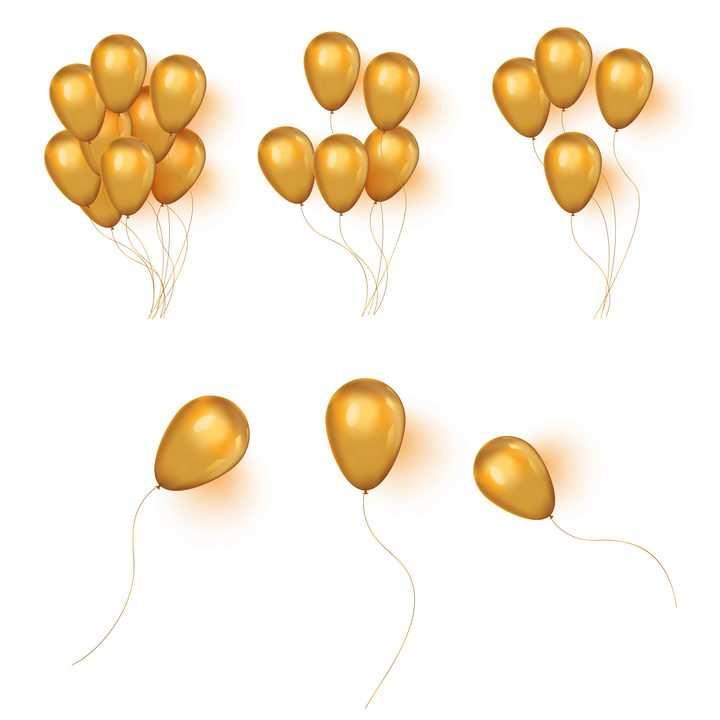 各种不同数量的橙色气球图片免抠矢量素材