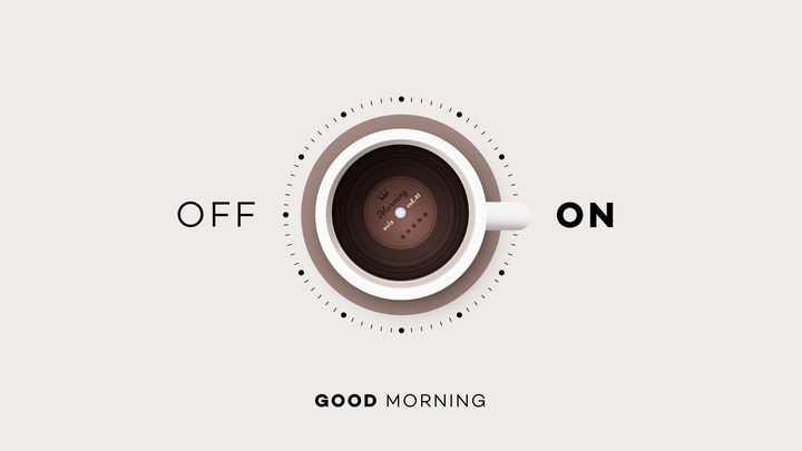 创意早上好俯视视角一杯咖啡组成的开关按钮图片免抠素材