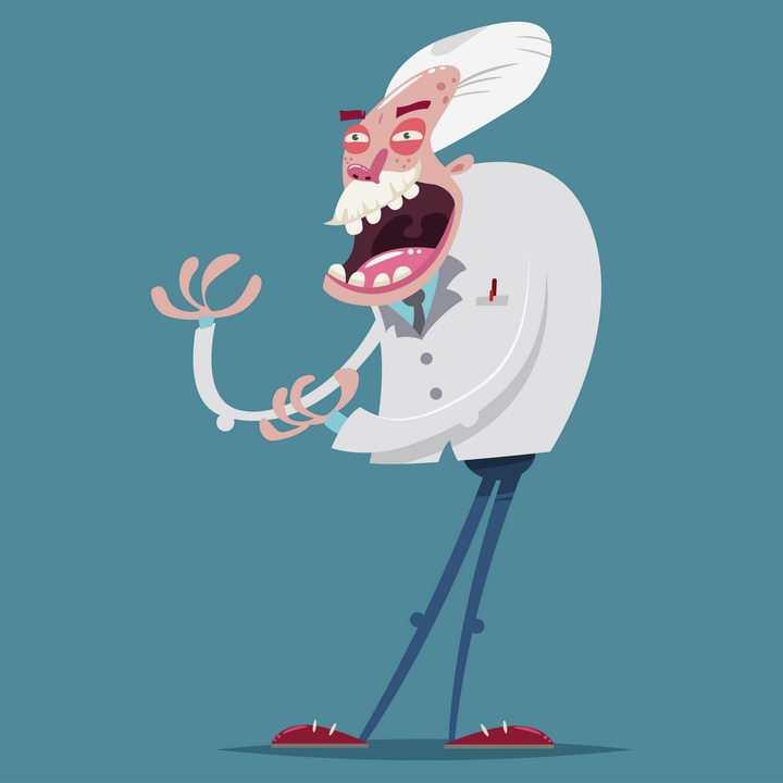 搞怪风格的卡通邪恶博士老科学家图片免抠矢量素材