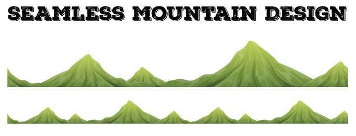 手绘风格绿色的大山山脉山峰图片免抠素材
