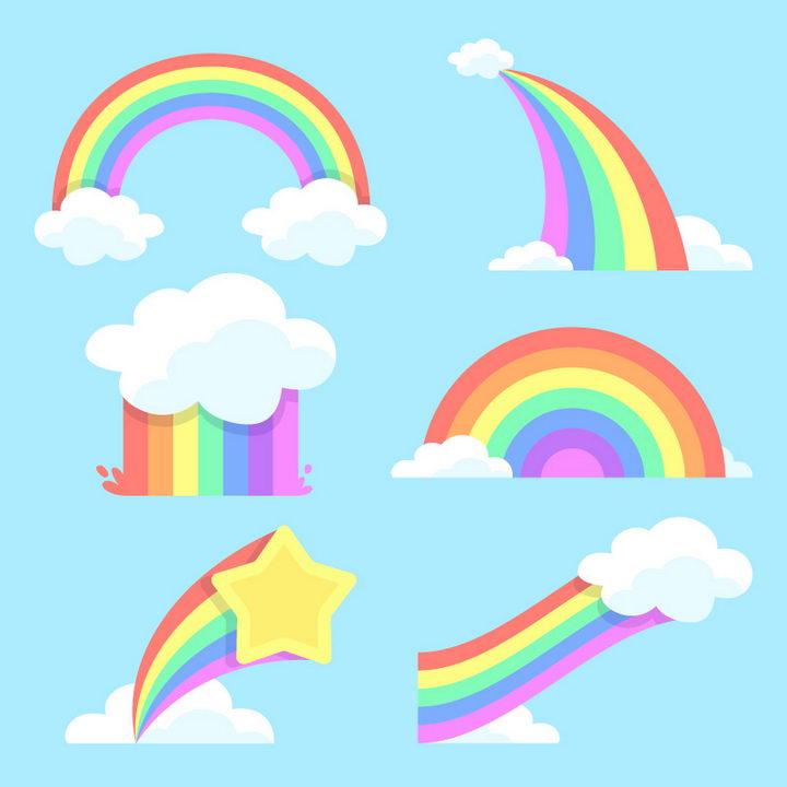 6款卡通风格云朵和彩虹图片免抠素材 装饰素材-第1张