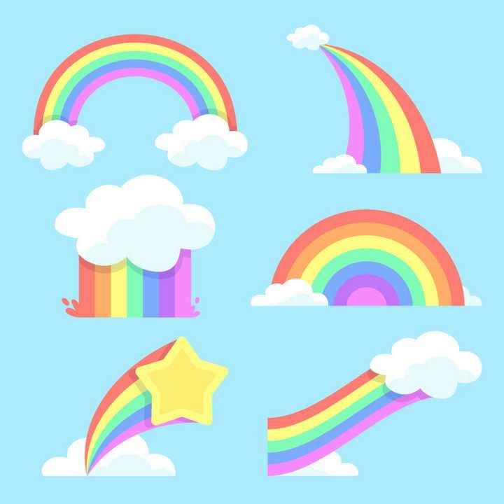 6款卡通风格云朵和彩虹图片免抠素材
